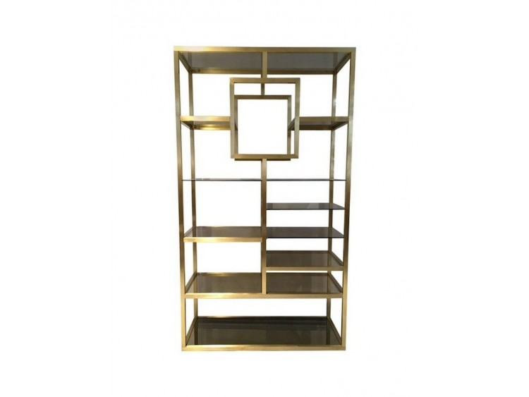 Brass and Tinted Glass Shelf