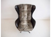 Black Leather Danish Swivel Armchair