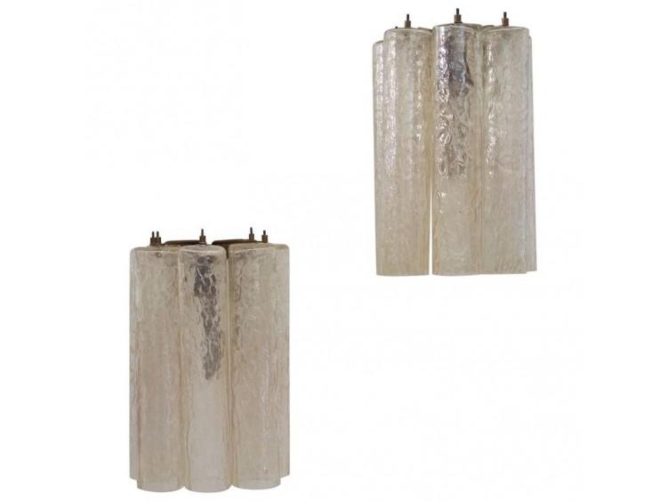 Venini Murano Tubular Glass Wall Appliques