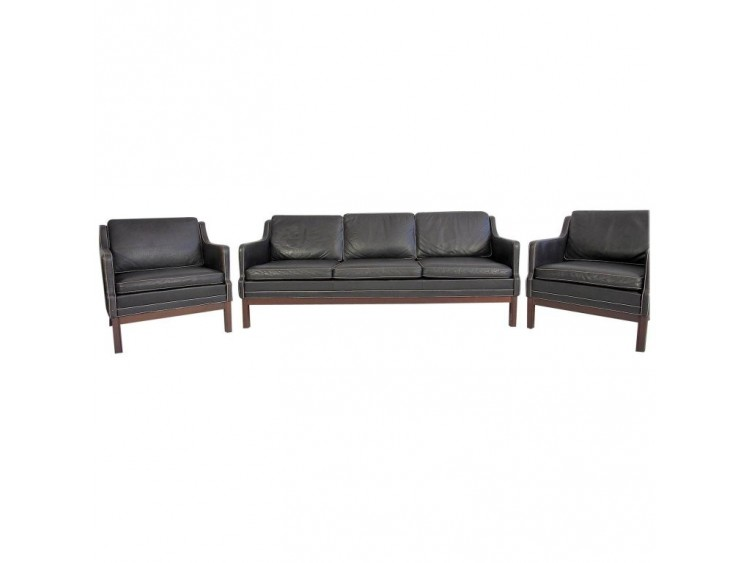 Set of Black Buffalo Leather Sofa & Easy Chairs