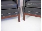 Set of Black Buffalo Leather Sofa & Easy Chairs