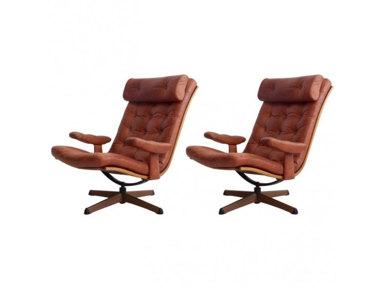 Pair of Leather Easy Chairs by Gote Mobler