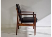 A.Vodder Black Leather and Rosewood Armchair