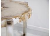 Mesita de madera petrificada