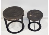 Pair of Petrified Wood Side Tables
