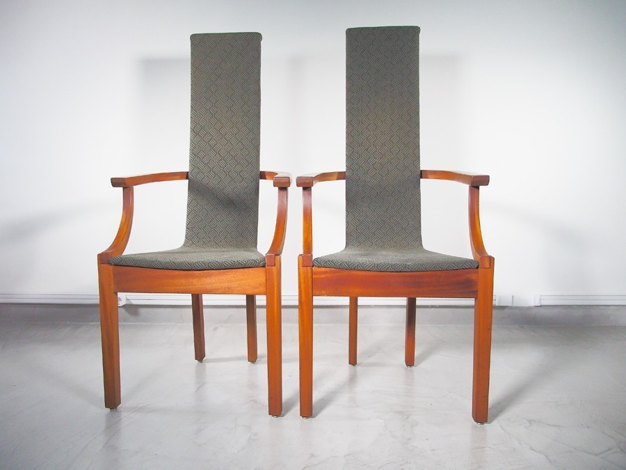 Pair of modern high back chairs