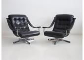 Pair of Black Swivel Chairs