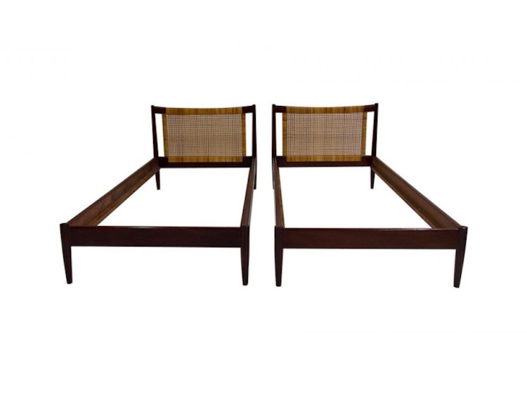 Pair of Wood and Rattan Bed Frames