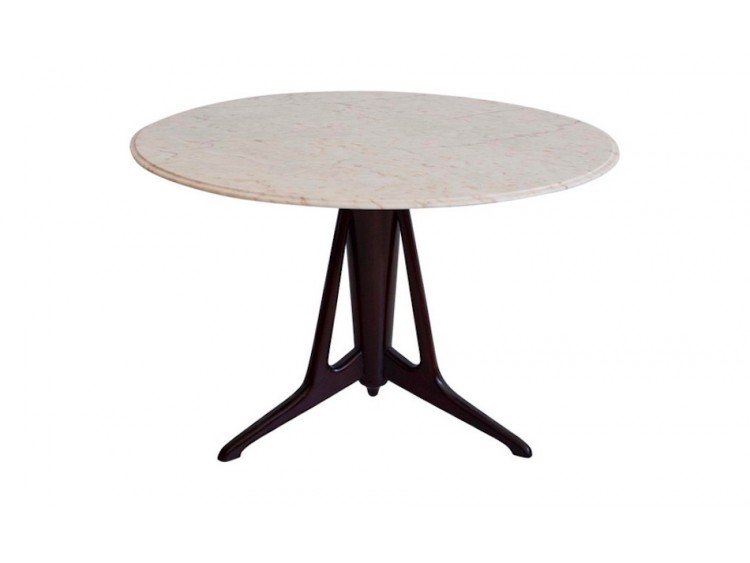 Round Mahogany Table with Marble Top
