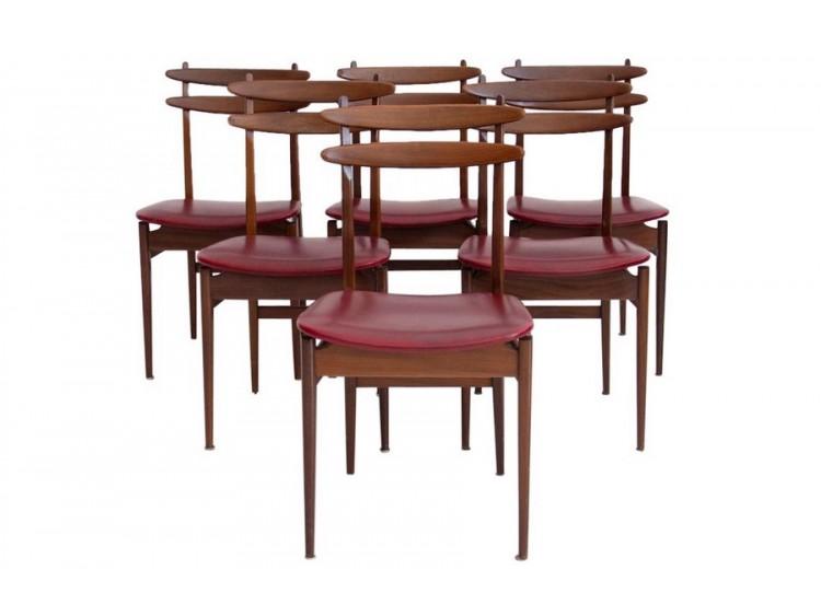 Conjunto de seis sillas rojas burdeos