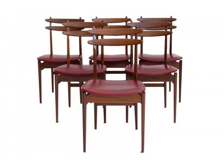 Set of Six Burgundy Chairs