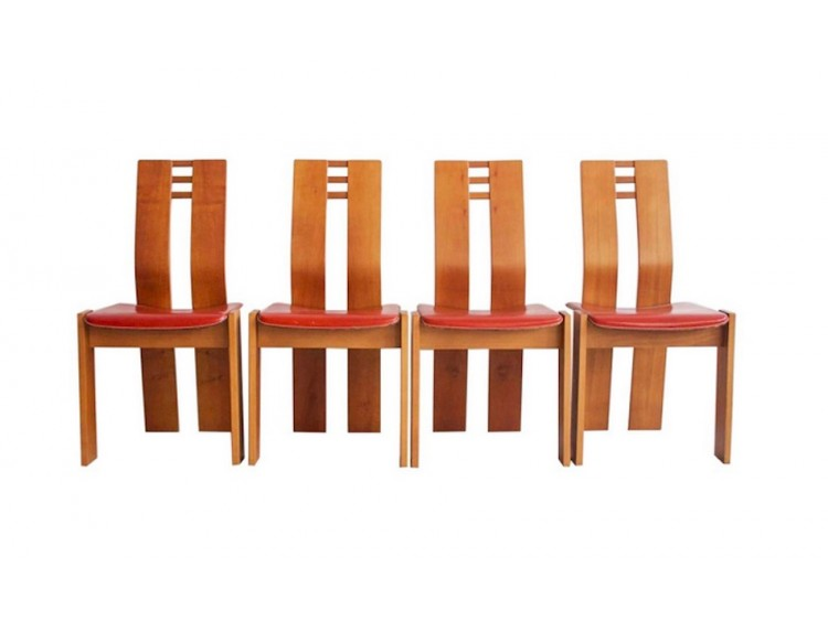 Set of Four Maple Wood Chairs