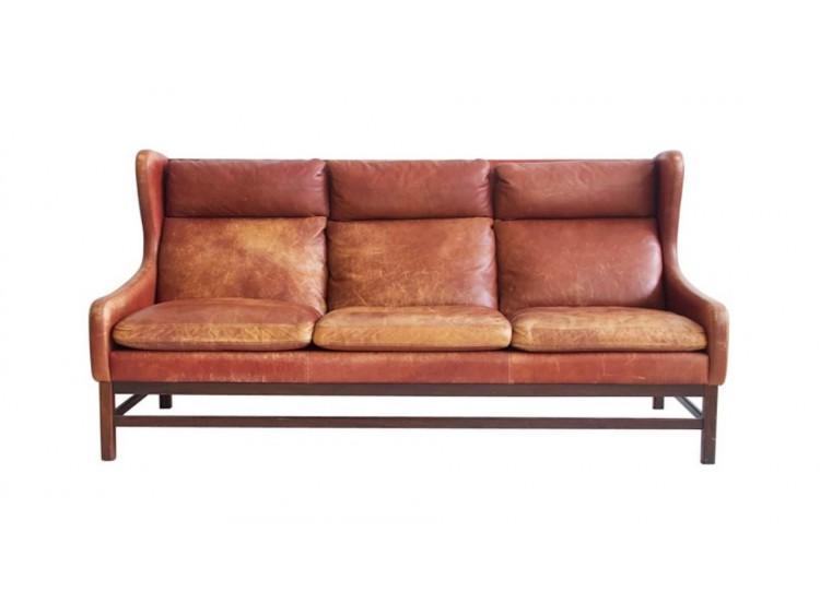 Sofá danés de cuero marrón
