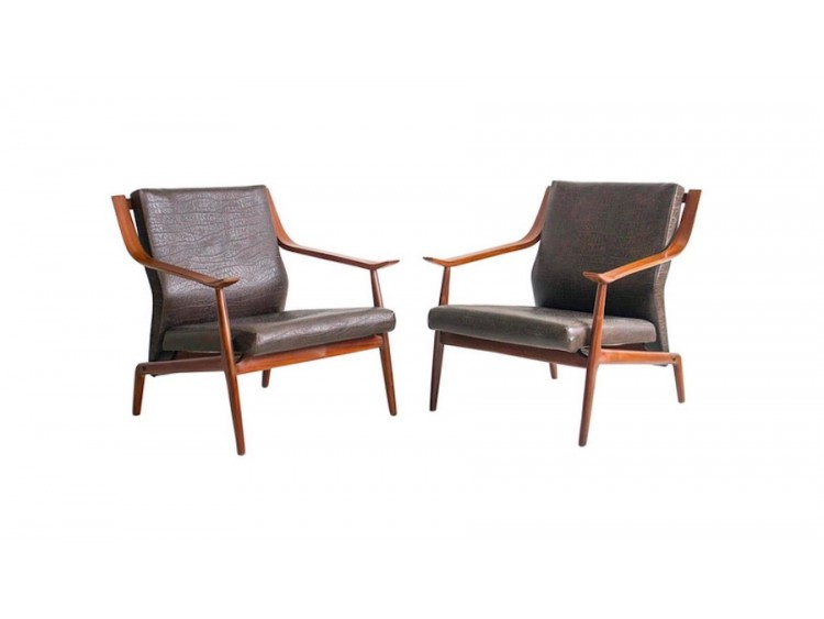 Pair of Brown Wooden Armchairs